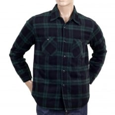 Mens Green Checked Wool Mix Quilted Regular Fit SC13178 CPO Overshirt with 2 Chest Pockets and Round Tail