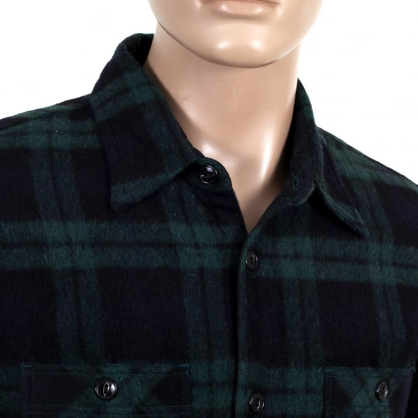 SUGAR CANE Mens Green Checked Wool Mix Quilted Regular Fit SC13178 CPO Overshirt with 2 Chest Pockets and Round Tail