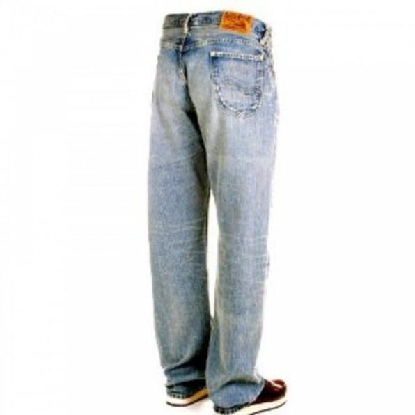 SUGAR CANE Mens Hard Wash Light Blue Vintage Cut Selvedge Denim Jeans SC41945H