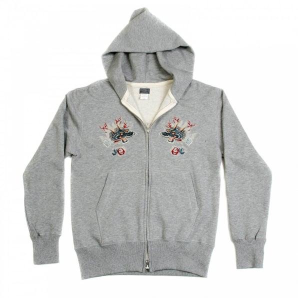 SUGAR CANE Mens Heather Grey Slim Fit Long Sleeve Zipped Sweatshirt Hoodie with Hand Embroidered Hells Dragon TT64244