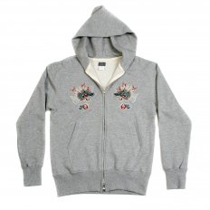 Mens Heather Grey Slim Fit Long Sleeve Zipped Sweatshirt Hoodie with Hand Embroidered Hells Dragon TT64244