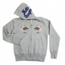 SUGAR CANE Mens Heather Grey Slim Fit Long Sleeve Zipped Sweatshirt Hoodie with Hand Embroidered Hells Dragon TT64244