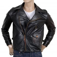 Mens Heavy Weight SC80435 Leather Black Horsehide Aviator Jacket with Full Zip Front