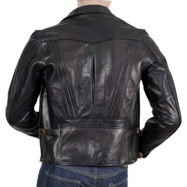 SUGAR CANE Mens Heavy Weight SC80435 Leather Black Horsehide Aviator Jacket with Full Zip Front