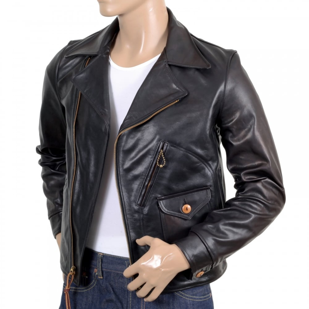 6b8f0ab28ed SUGAR CANE Mens Heavy Weight SC80435 Leather Black Horsehide Aviator Jacket  with Full Zip Front ...
