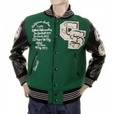 Mens Letterman Green Melton Wool Spartans Stadium Award Jacket with Black Leather Sleeves WV12310