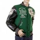 SUGAR CANE Mens Letterman Green Melton Wool Spartans Stadium Award Jacket with Black Leather Sleeves WV12310