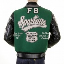 SUGAR CANE Mens Letterman Green Melton Wool Spartans Stadium Award Jacket with Black Leather Sleeves WV12310