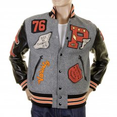 Mens Letterman Regular Fit Philadelphia Award Jacket with Melton Wool Grey Body and Black Leather Sleeves WV12310