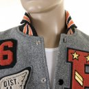 SUGAR CANE Mens Letterman Regular Fit Philadelphia Award Jacket with Melton Wool Grey Body and Black Leather Sleeves WV12310