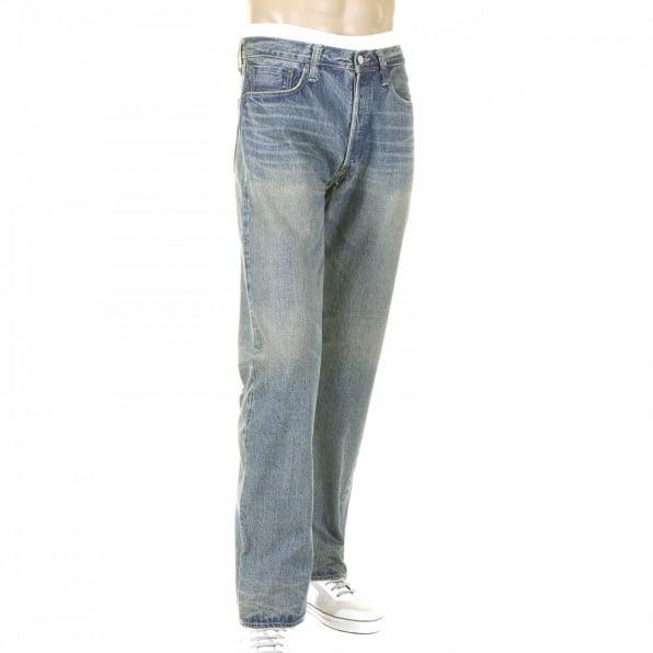 SUGAR CANE Mens Light Vintage Cut Original Hard Wash Japanese Selvedge Denim Jeans SC41947H