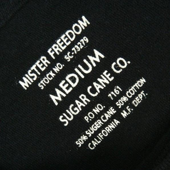 SUGAR CANE Mens Limited Edition Mister Freedom Tubular Knit Crew Neck Slim Fit Short Sleeve T-shirt in Black SC73279