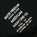 SUGAR CANE Mens Limited Edition Mister Freedom Tubular Knit Crew Neck Slim Fit Short Sleeve T-shirt in Black SC73279
