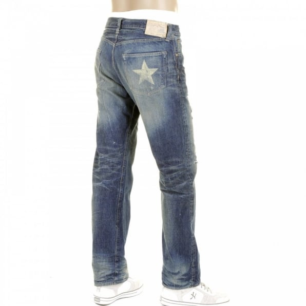 SUGAR CANE Mens Lone Star Vintage Cut 10 Year Aged Japanese Selvedge Denim Jeans with Heavy Fading and Whiskering SC40902R