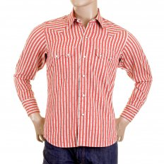 Mens Long Sleeve Regular Fit Western Wear Dobby Striped Shirt in Doddyred and Off White SC25369