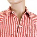 SUGAR CANE Mens Long Sleeve Regular Fit Western Wear Dobby Striped Shirt in Doddyred and Off White SC25369