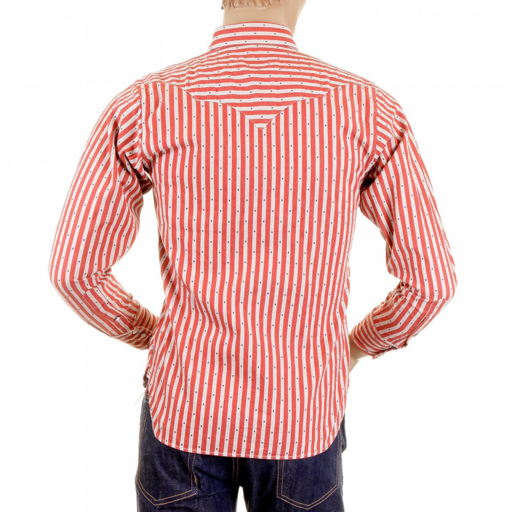 5330ba3d ... SUGAR CANE Mens Long Sleeve Regular Fit Western Wear Dobby Striped Shirt  in Doddyred and Off ...