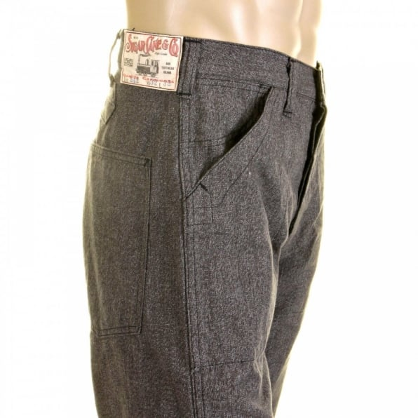 SUGAR CANE Mens Loose Fit Fiction Romance Vintage Cut Charcoal Grey Black Cotton Covert Engineer Pants SC40942