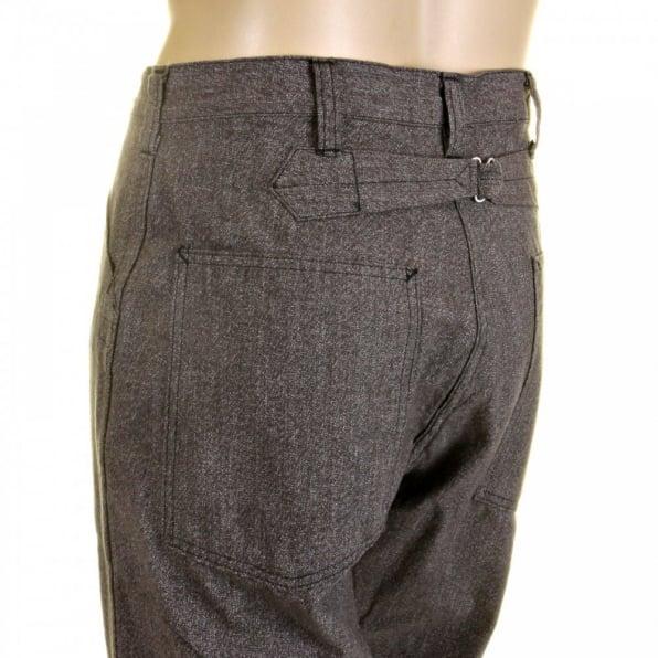SUGAR CANE Mens Loose Fit Fiction Romance Vintage Cut Charcoal Grey Black Cotton Covert Engineer Pants SC40942