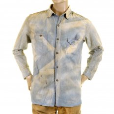 Mens Navy Blue Chambray Long Sleeve Hard wash Regular Fit Vintage Work Shirt with Heavy Fading SC25355H