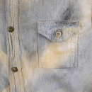 SUGAR CANE Mens Navy Blue Chambray Long Sleeve Hard wash Regular Fit Vintage Work Shirt with Heavy Fading SC25355H