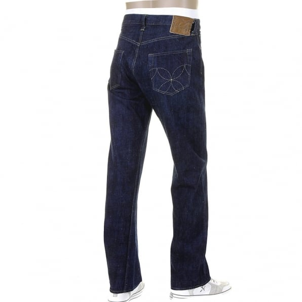 SUGAR CANE Mens Navy Hawaiian Cotton Vintage Cut One Wash Japanese Selvedge Denim Jeans SC40401A