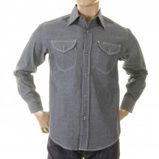 Mens Navy Non Wash Vintage Cut USA Made Regular Fit Long Sleeve Chambray Workwear Shirt SC25638N