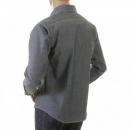 SUGAR CANE Mens Navy Non Wash Vintage Cut USA Made Regular Fit Long Sleeve Chambray Workwear Shirt SC25638N