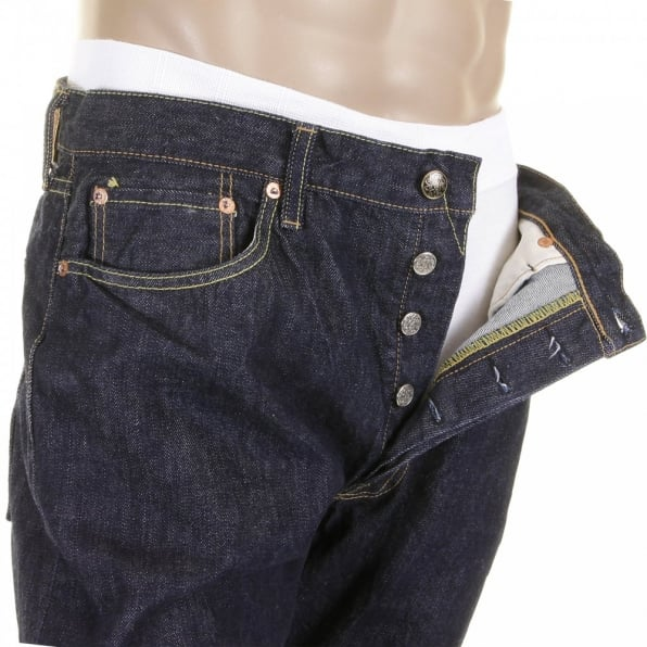 SUGAR CANE Mens Navy Slimer Cut Rinsed One Wash Low Rise Japanese Selvedge Denim Jeans SC40724A