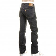 Mens Navy Slimmer Fitting Japanese Selvedge Non Wash Dry Star Denim Jeans SC40724N