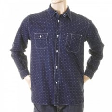 Mens Navy Vintage Cut Fiction Romance Regular Fit Long Sleeve Work Wear One Wash Shirt with Star Dots SC25675A
