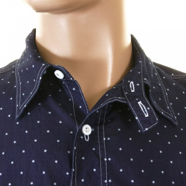 SUGAR CANE Mens Navy Vintage Cut Fiction Romance Regular Fit Long Sleeve Work Wear One Wash Shirt with Star Dots SC25675A