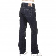 Mens Okinawa One Wash Vintage Cut Cotton Selvedge Denim Jeans with Button Fly SC40301A