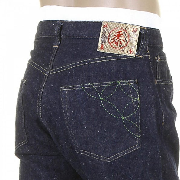 SUGAR CANE Mens Okinawa One Wash Vintage Cut Cotton Selvedge Denim Jeans with Button Fly SC40301A