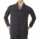 SUGAR CANE Mens Pinstriped Vintage Cut Regular Fit USA Made Work Jacket in Navy SC12455
