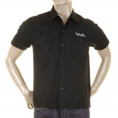Mens Pleasure Valley Black Cotton Regular Fit Short Sleeve Work Shirt with Soft Pointed Collar SC35464