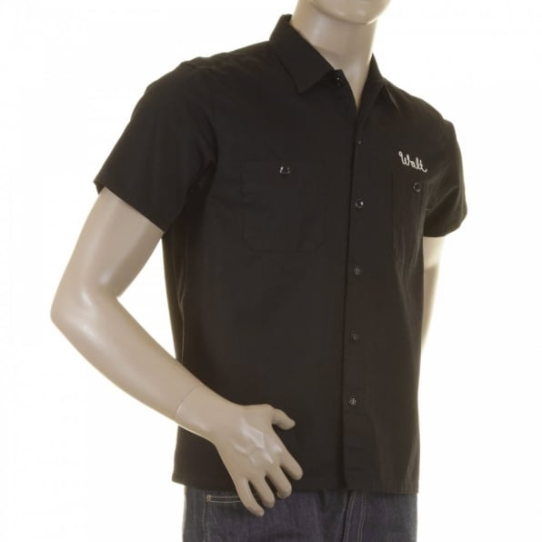SUGAR CANE Mens Pleasure Valley Black Cotton Regular Fit Short Sleeve Work Shirt with Soft Pointed Collar SC35464