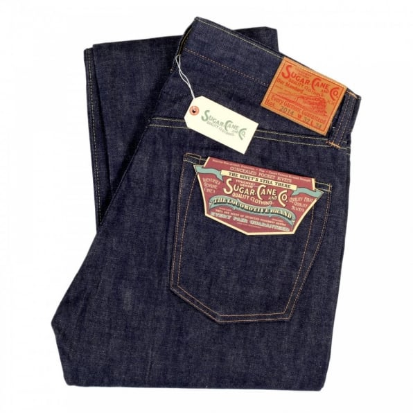 SUGAR CANE Mens Slim Fit Non Wash Straight Leg Navy Denim Jeans SC42014N