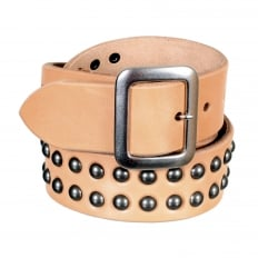 Mens Studded Beige Leather SC02322 Garrison Belt with Silver Square Buckle