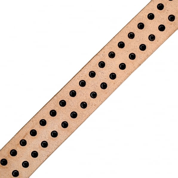 SUGAR CANE Mens Studded Beige Leather SC02322 Garrison Belt with Silver Square Buckle