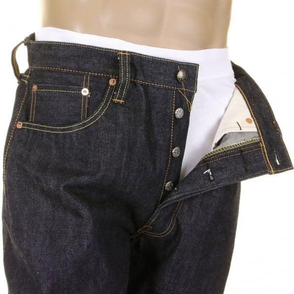 SUGAR CANE Mens Union Star Vintage Cut Japanese Hard Dark Wash Selvedge Raw Denim Jeans SC40065H