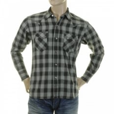 Mens Woven Grey Check Long Sleeve Western Regular Fit Cotton Shirt with Soft Pointed Collar SC25371