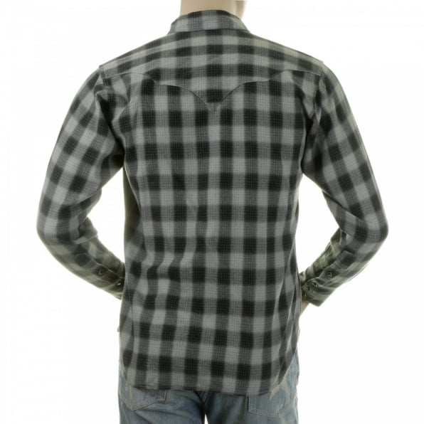 SUGAR CANE Mens Woven Grey Check Long Sleeve Western Regular Fit Cotton Shirt with Soft Pointed Collar SC25371