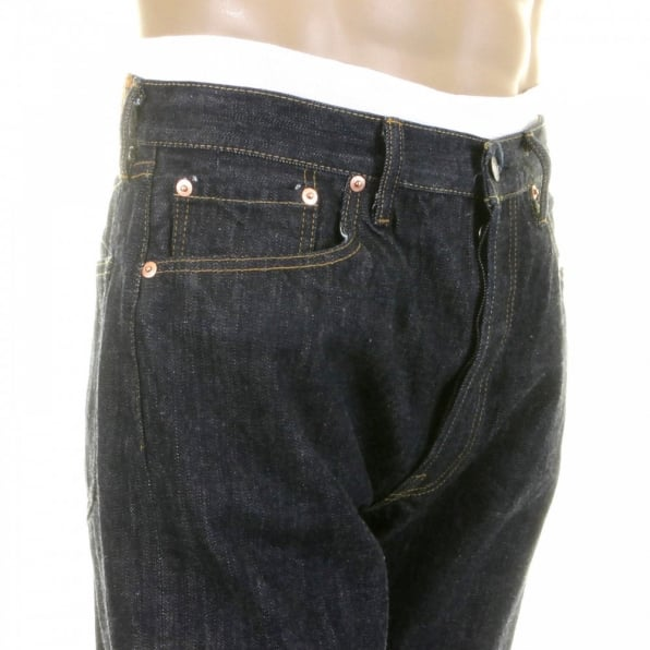 SUGAR CANE Navy One Wash 1966 Style Vintage Cut Japanese Selvedge Denim Jeans for Men SC41966A