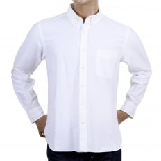 One Wash Oxford Regular Fit SC26475A Off White Shirt with Single Pocket and Button Down Collar