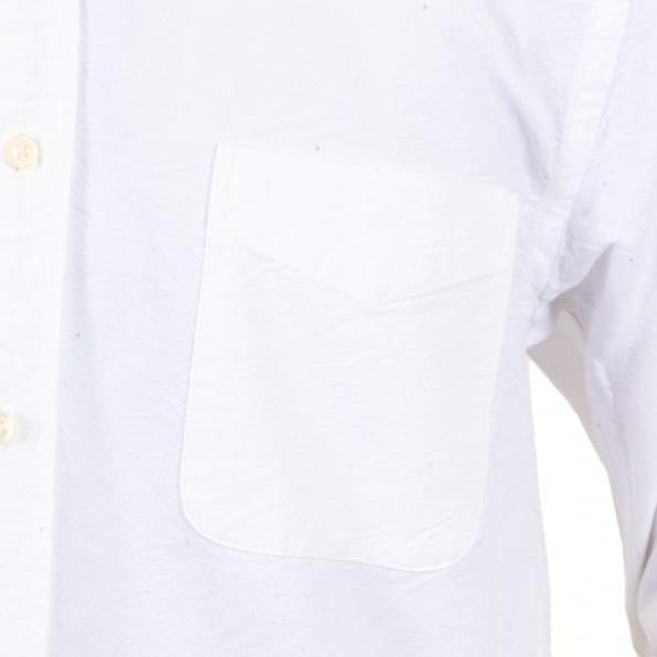 SUGAR CANE One Wash Oxford Regular Fit SC26475A Off White Shirt with Single Pocket and Button Down Collar