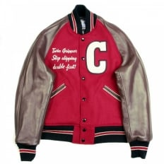 Red and Brown Raglan Sleeve Regular Fit Letterman Jacket for Men WV11376