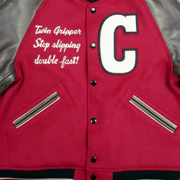 SUGAR CANE Red and Brown Raglan Sleeve Regular Fit Letterman Jacket for Men WV11376
