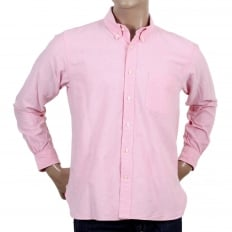 Regular Fit Classic Styled SC26475A Long Sleeved Light Pink Oxford Shirt with Button Down Collar