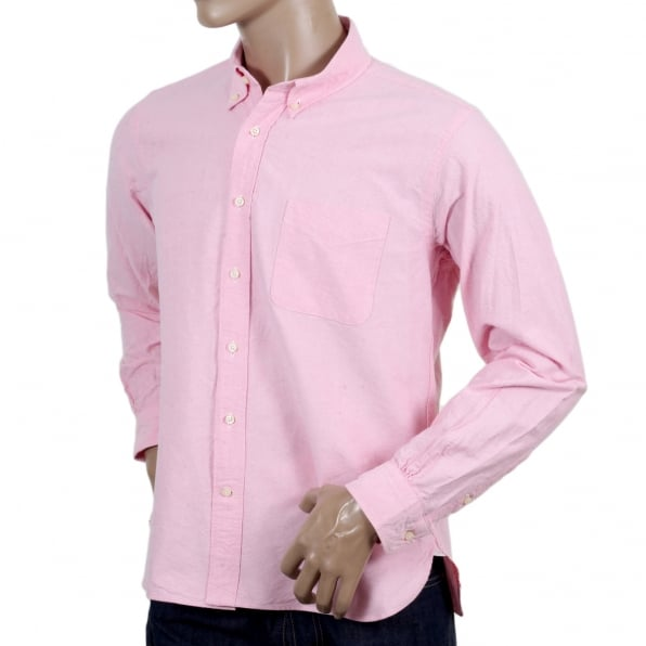 SUGAR CANE Regular Fit Classic Styled SC26475A Long Sleeved Light Pink Oxford Shirt with Button Down Collar